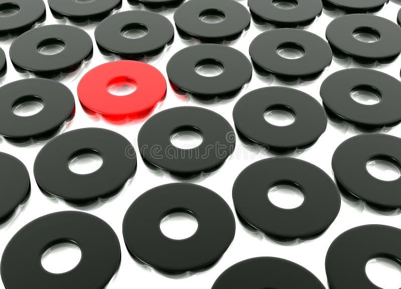 Abstract Black Ring Shapes. On White Lightbox stock illustration