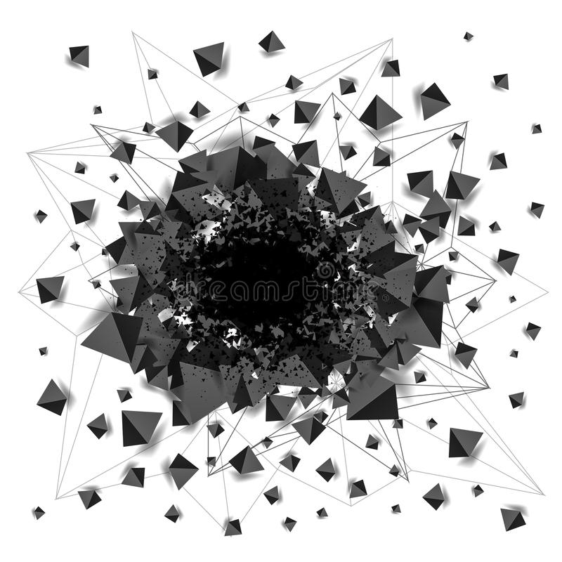 Abstract black shaded pyramids explosion with hole stock illustration