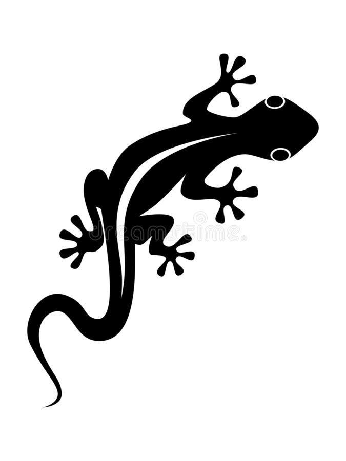 Lizard abstract symbol on the white background. Lizard sign. Isolated black silhouette gecko on white background. Vector illustration stock illustration