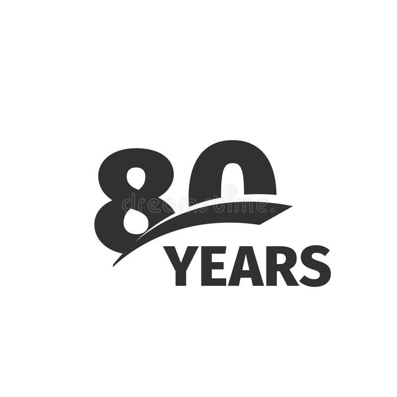 Abstract black 80th anniversary logo on white background. 80 number logotype. Eighty years jubilee celebration. Icon. Eightieth birthday emblem. Vector stock illustration