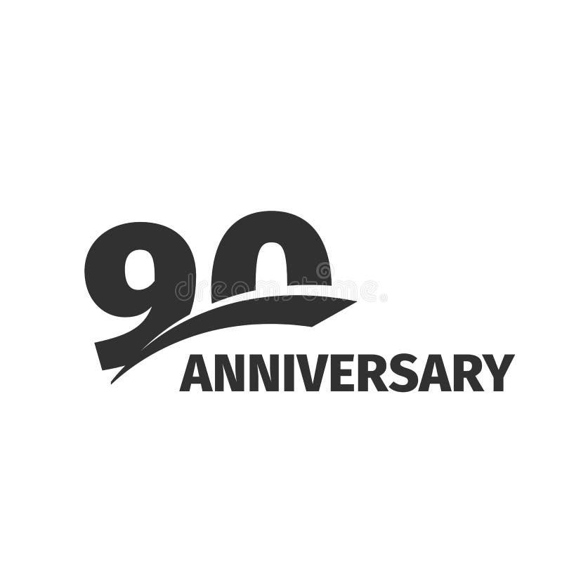 Abstract black 90th anniversary logo on white background. 90 number logotype. Ninety years jubilee celebration. Icon. Ninetieth birthday emblem. Vector stock illustration