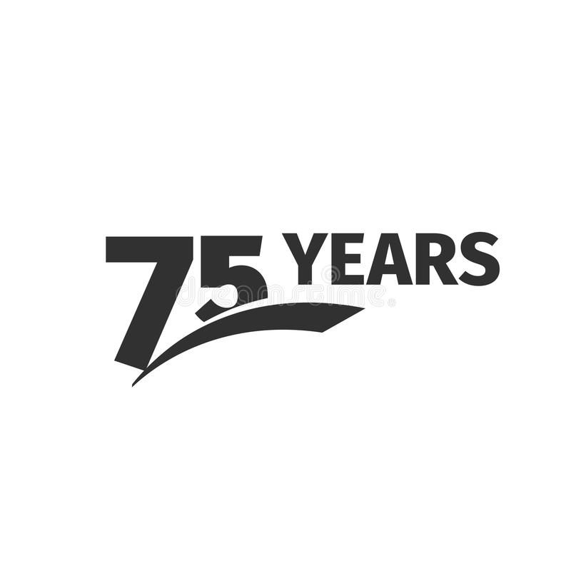 Abstract black 75th anniversary logo on white background. 75 number logotype.Seventy -five years jubilee. Celebration icon. Seventy-fifth birthday emblem stock illustration