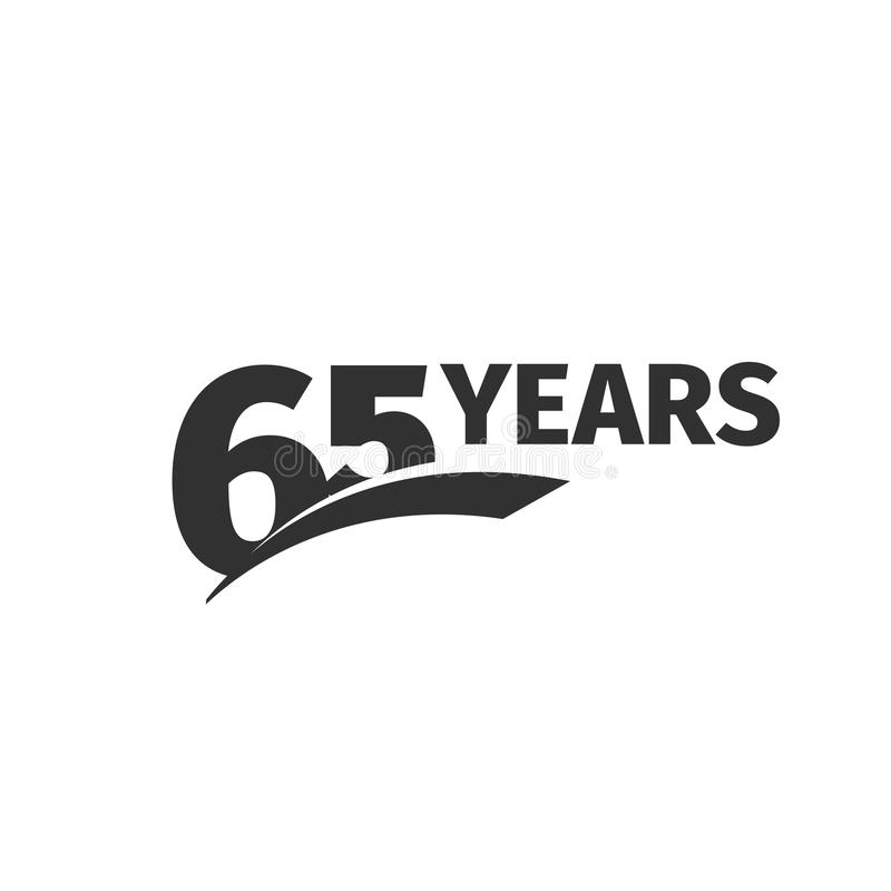 Abstract black 65th anniversary logo on white background. 65 number logotype. Sixty -five years jubilee. Celebration icon. Sixty-fifth birthday emblem. Vector vector illustration