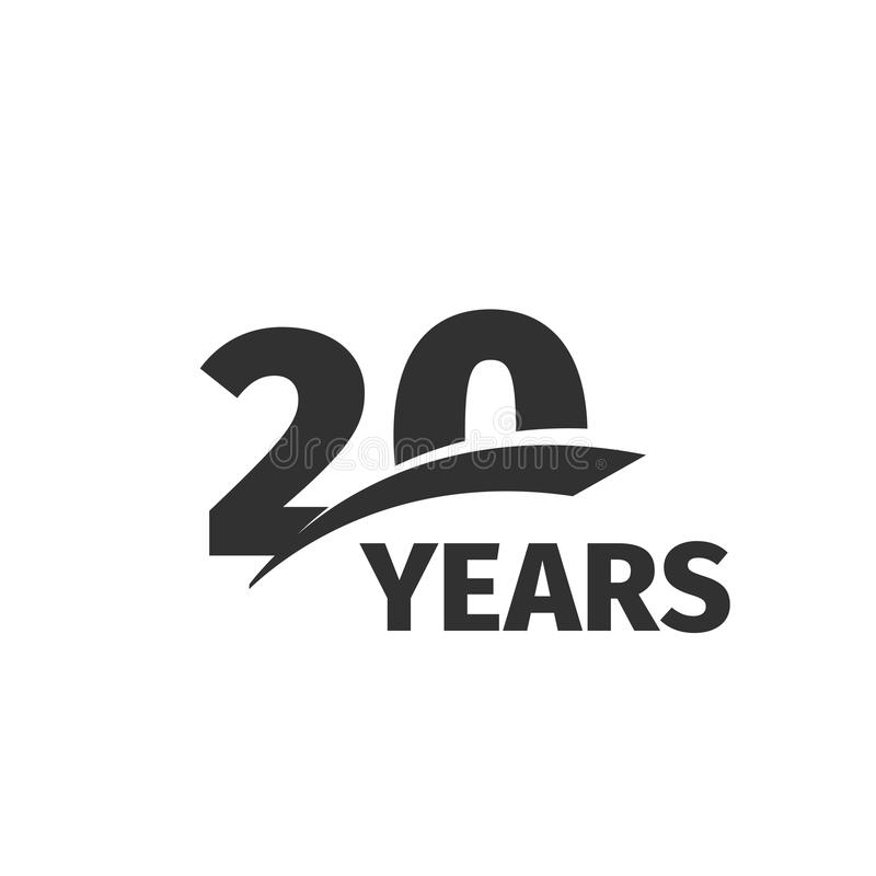 abstract black 20th anniversary logo on white background. 20 number logotype. Twenty years jubilee celebration royalty free illustration