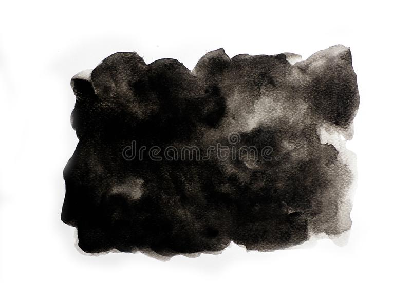 Abstract black watercolor on white background, abstract watercolor background.  royalty free illustration