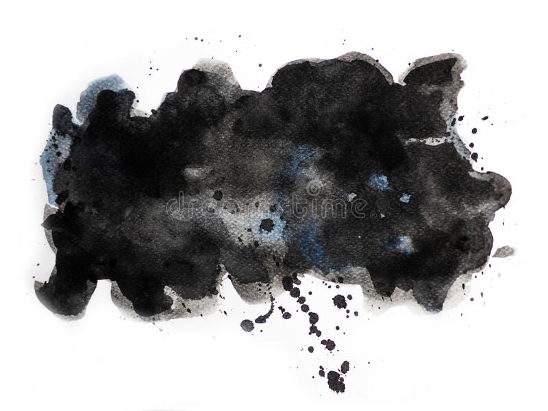 Abstract black watercolor on white background, abstract watercolor background stock photos