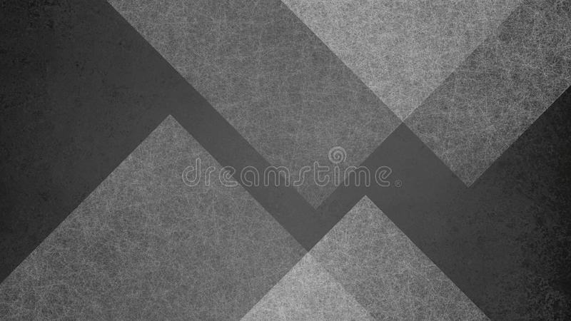 Abstract black and white background with large geometric triangle and diamond pattern. Elegant dark gray color royalty free illustration