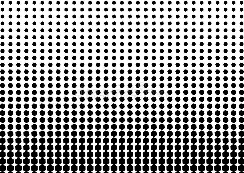 Abstract black and white color of geometric shapes halftone pattern. Texture pixel Curved mosaic dotted background. Pop art stock illustration