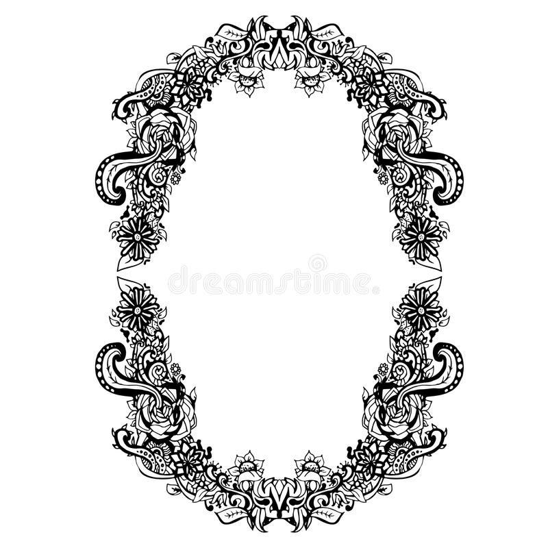 Abstract Black And White Floral Frame. Vector Illustration ...