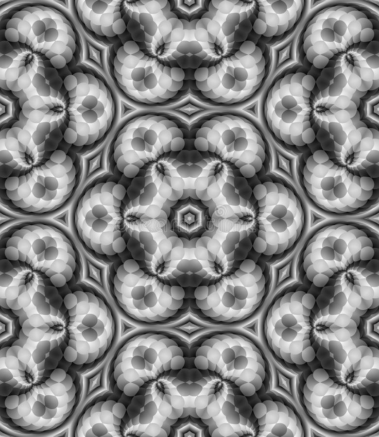 Abstract black and white floral pattern, Gray mosaic tile texture background, Seamless illustration. Abstract black and white floral pattern, Grey mosaic tile royalty free illustration