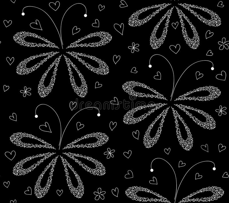 Download Abstract Black And White Floral Vector Seamless Pattern With Figured Moths Stock Vector - Illustration of beauty, night: 55671482