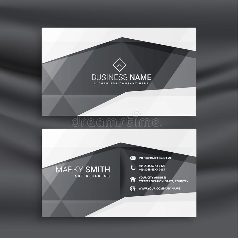 Abstract black and white geometric business card design royalty free illustration