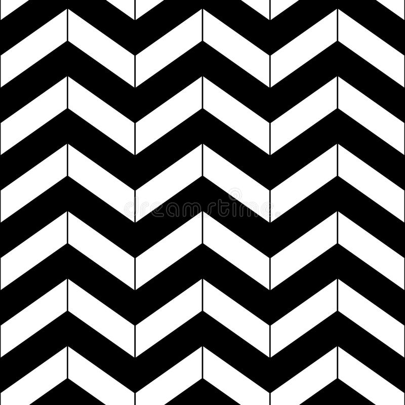 Abstract black and white geometric chevron seamless pattern, vector stock illustration