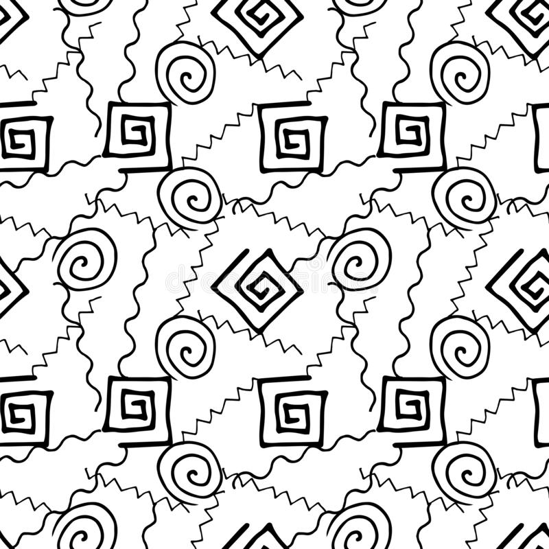 Abstract black white geometric hand drawing seamless pattern royalty free illustration