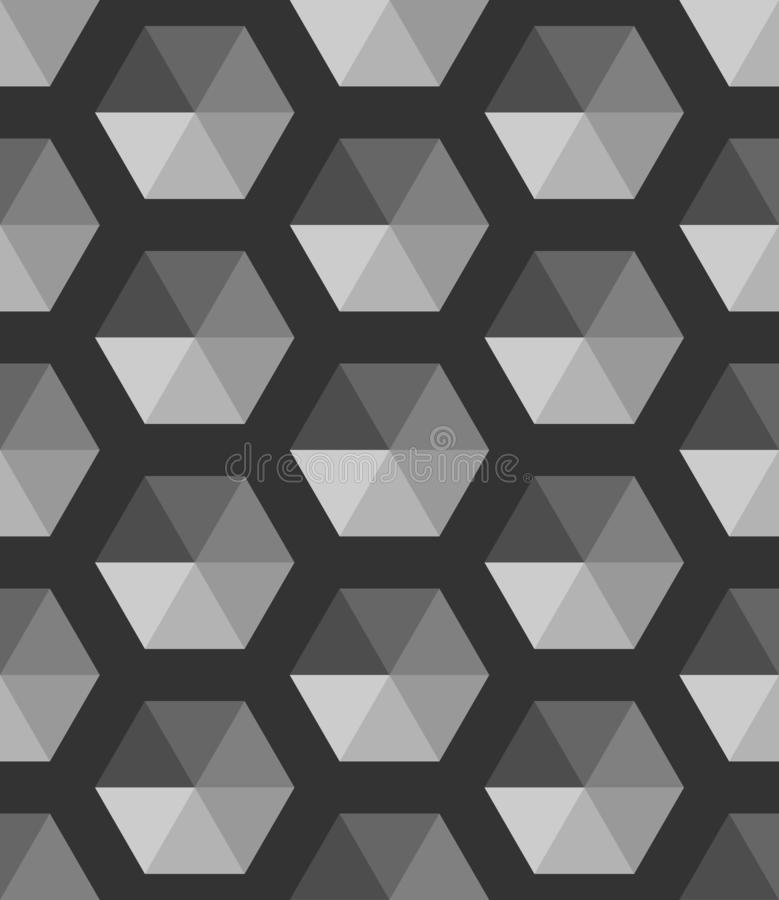 Abstract Black and white geometric vector wallpaper. Cube pattern background royalty free illustration