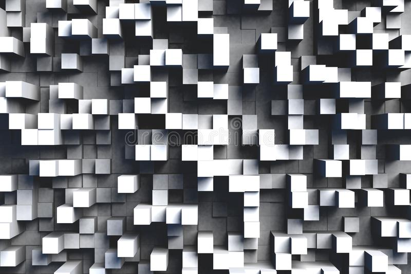 Abstract Black and White or Gray 3d Geometric Cube Tiles Background Design Pattern in Bright Light. Abstract gray or black and white 3d geometric cube or box royalty free illustration