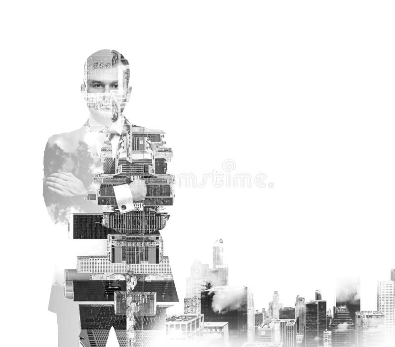 Abstract black and white Image of transparent businessman's Silhouettes. New York cityscape. stock photo