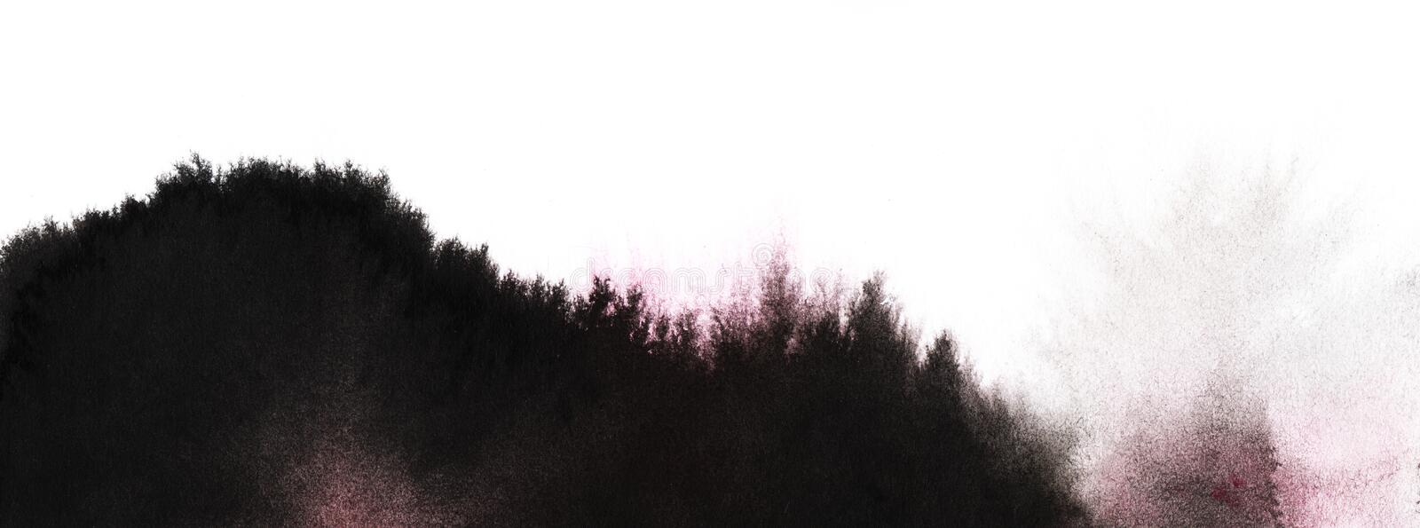 Abstract black and white landscape. Mountains silhouette overgrown with forest. Texture of black ink spots on white paper. Hand D. Rawn stock image