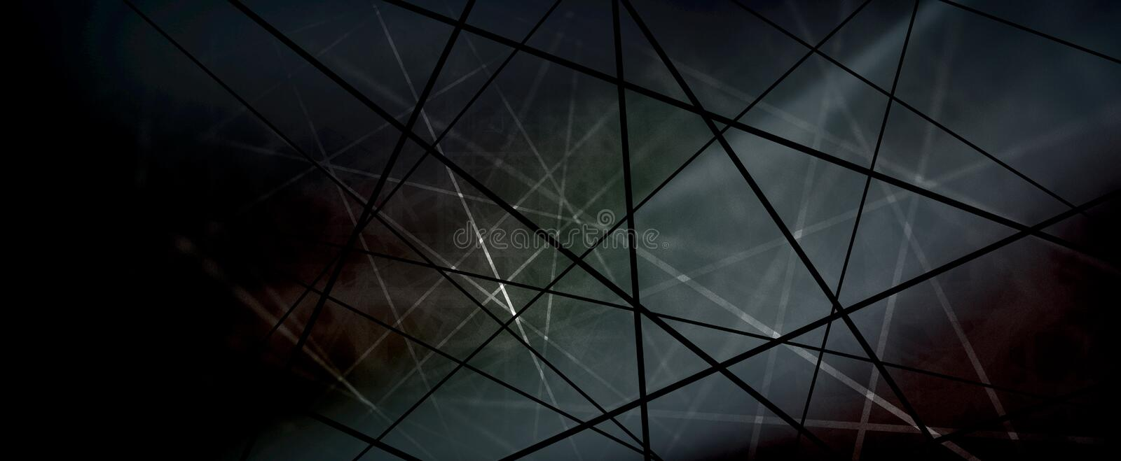 Abstract black and white lines in criss cross or net pattern design in techno background stock illustration