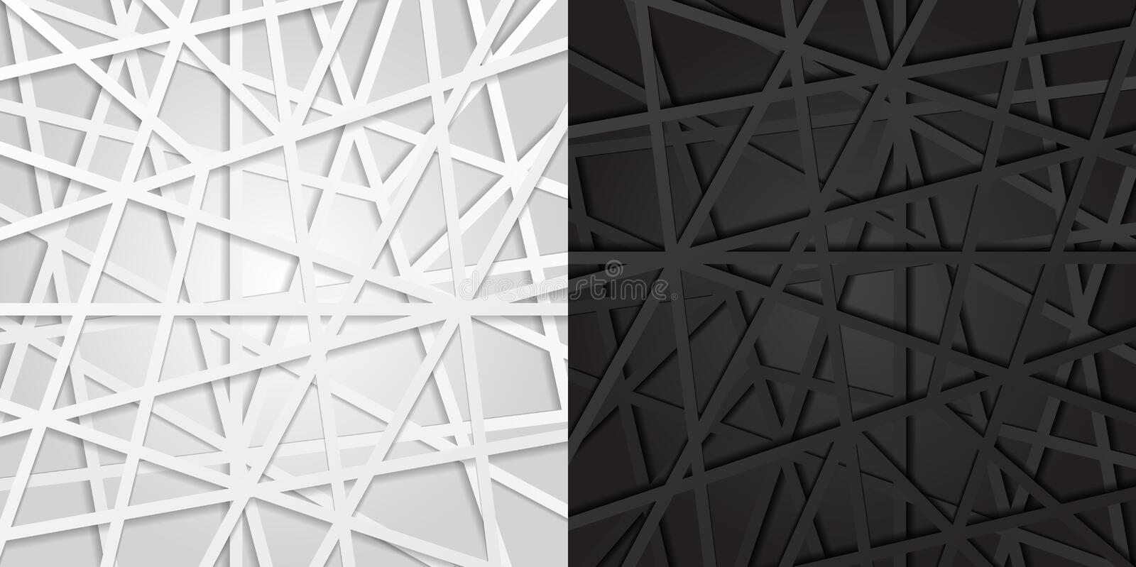Abstract black and white lines futuristic overlap background. Vector illustration, digital. Connection royalty free illustration