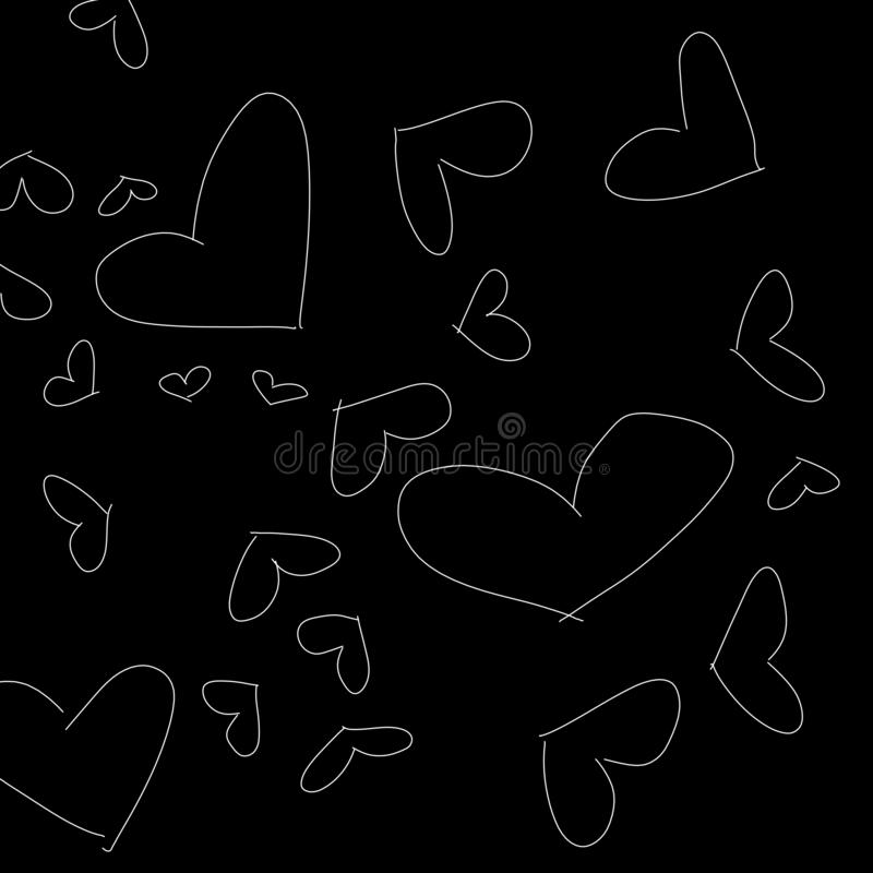 Abstract Black And White Love Pattern As Illustration