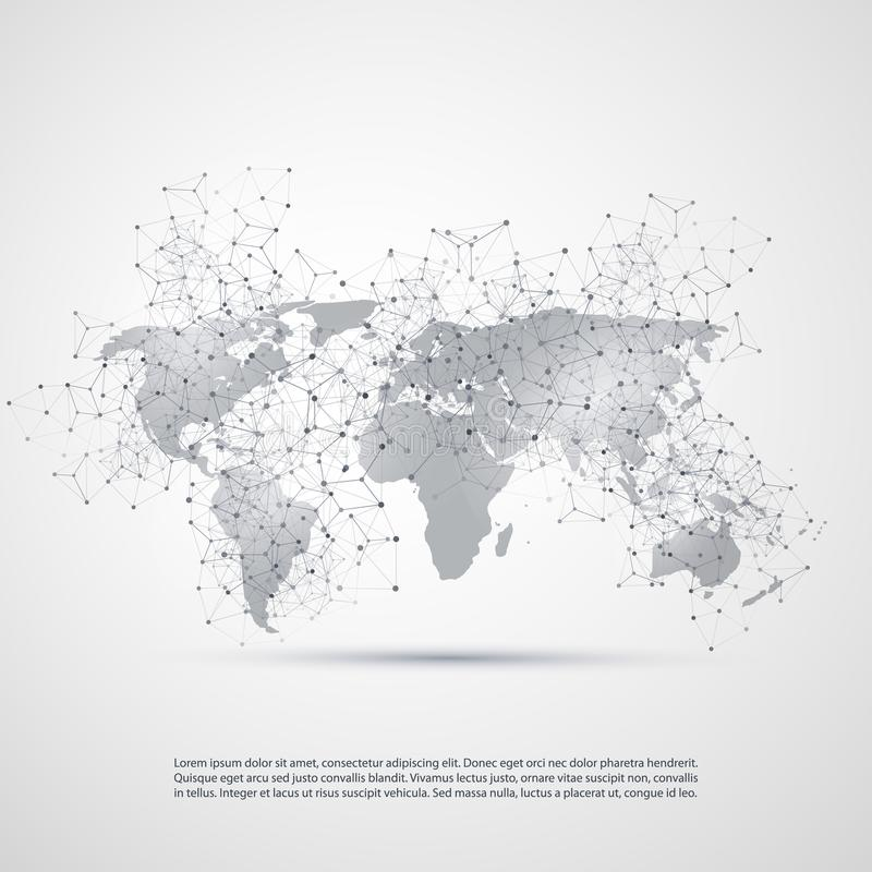 Cloud Computing and Networks Concept with World Map - Global Digital Network Connections, Technology Background, Creative Design vector illustration
