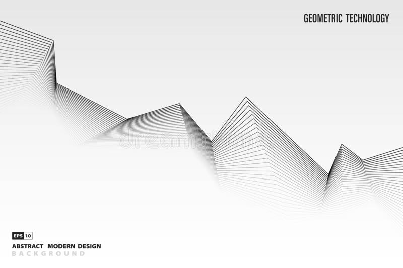 Abstract black and white pattern line design of tech decoration background. illustration vector eps10. Abstract black and white pattern line design of tech vector illustration