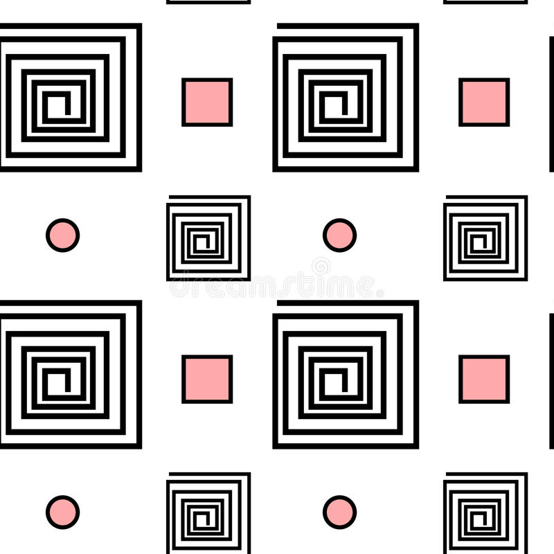 Abstract black white pink seamless pattern background illustration with spiral square and geometric shape vector illustration
