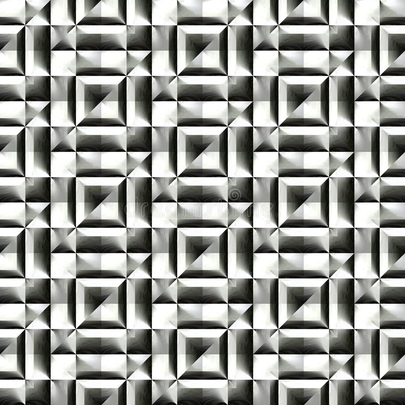 Abstract black and white plastic pattern. Metallic silver 3D surface. Checked relief. Texture background. Seamless illustration. stock illustration