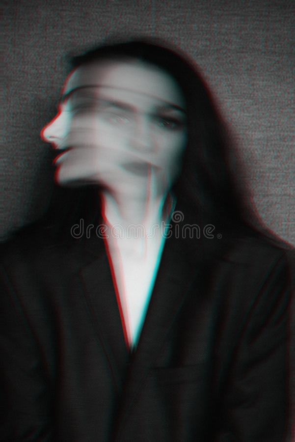 Abstract black and white portrait of a girl with mental disorders and glitch effect. With blur royalty free stock images