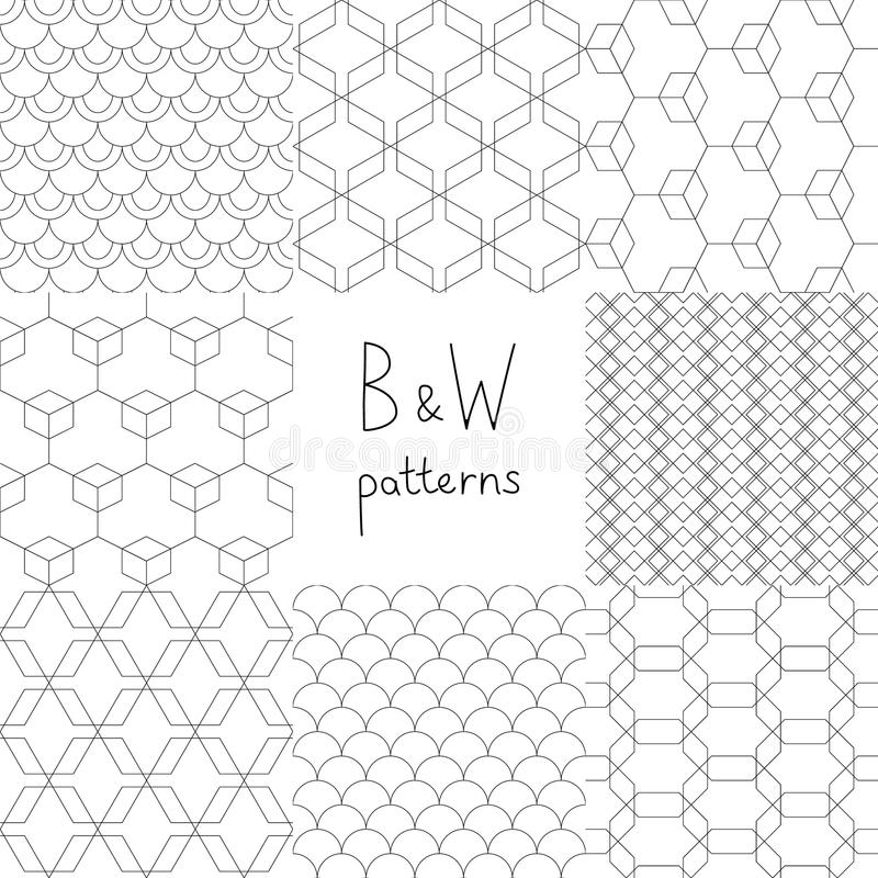 Abstract black and white simple geometric seamless patterns set, vector royalty free illustration