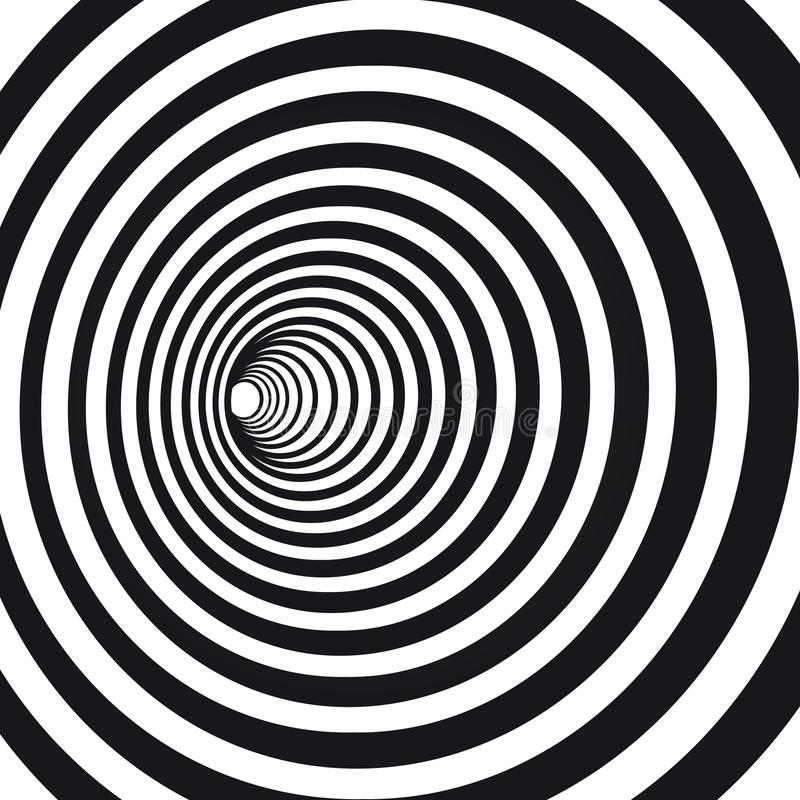 Abstract black and white striped optical illusion. Geometric hypnotic spiral. Geometrical wormhole shape pattern royalty free illustration