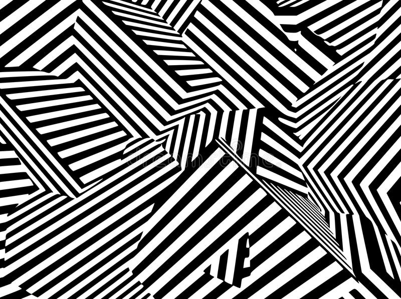 Abstract black and white striped optical illusion three dimensional geometrical boxes royalty free illustration