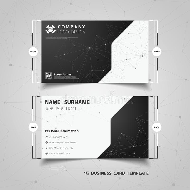 Abstract black and white technology name card template design. illustration vector eps10 royalty free illustration
