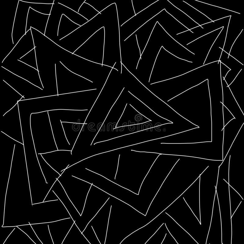Abstract black and white triangle pattern as illustration background and wallpaper stock illustration