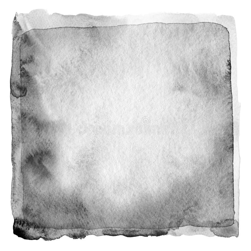 Abstract black and white watercolor painted background. stock image