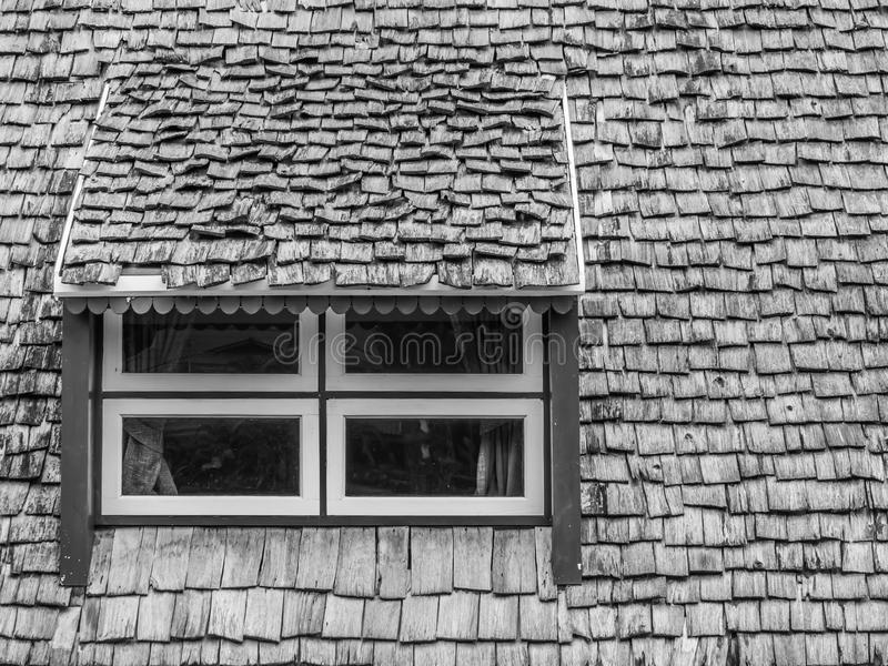 Abstract black and white windows and roof stock image