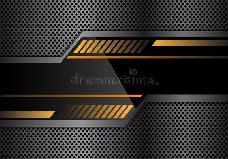 Abstract black yellow technology banner on gray metal circle mesh design modern futuristic background vector stock illustration
