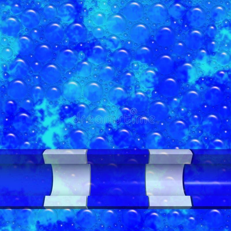 Abstract blauw achtergrondtextuur met bubbels en cilindrische transparante banner vector illustratie