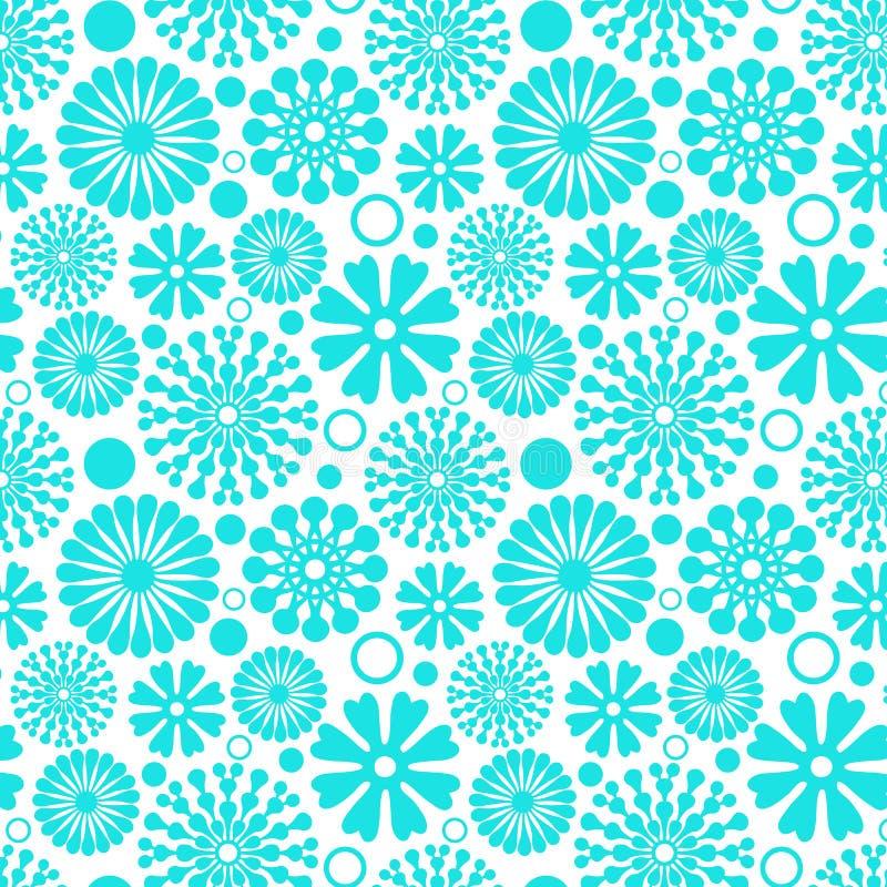 Abstract blauw bloemenelementen naadloos patroon stock illustratie