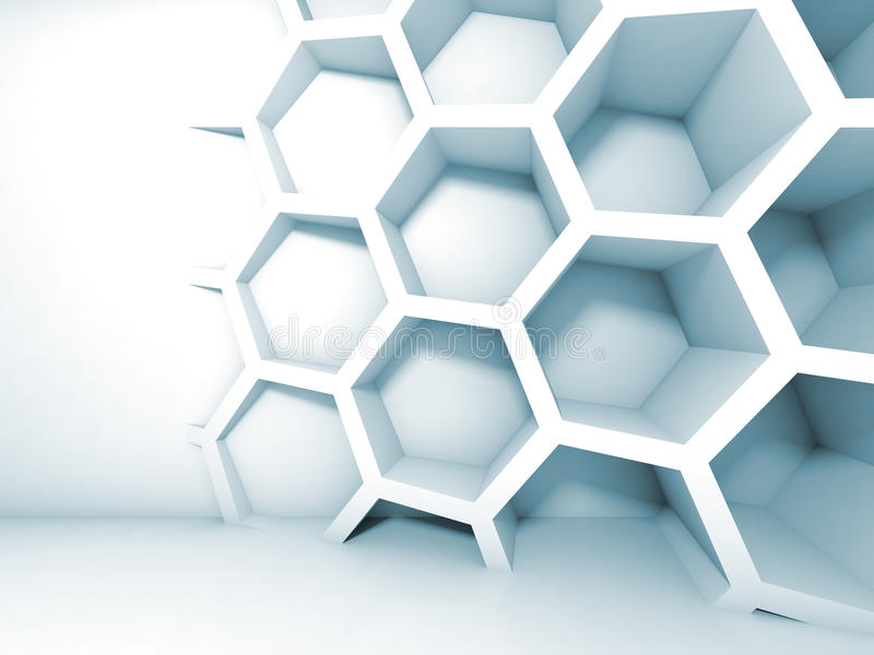 Abstract blauw 3d binnenland met honingraat vector illustratie