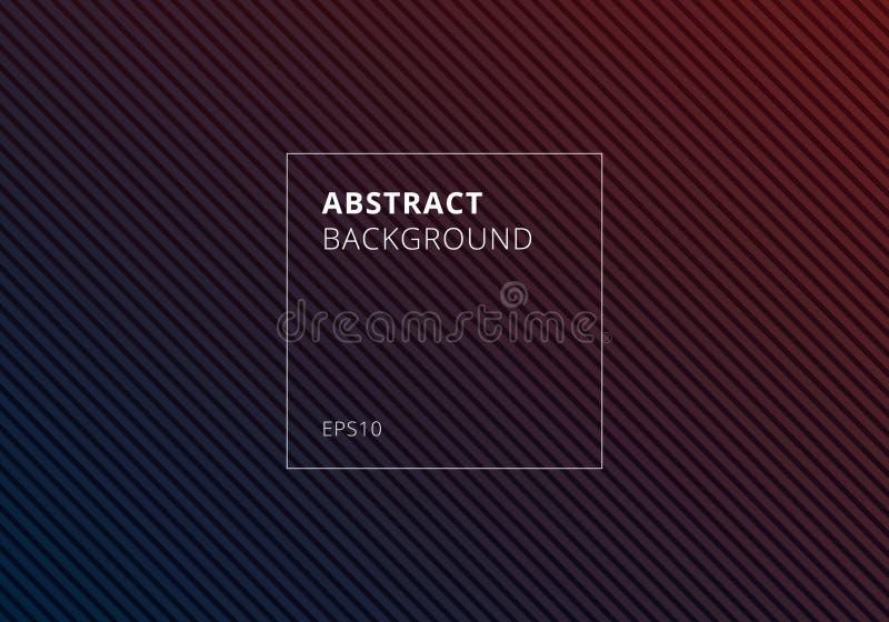 Abstract blauw en rood gestreept lijnen diagonaal patroon op donkere achtergrond en textuur vector illustratie
