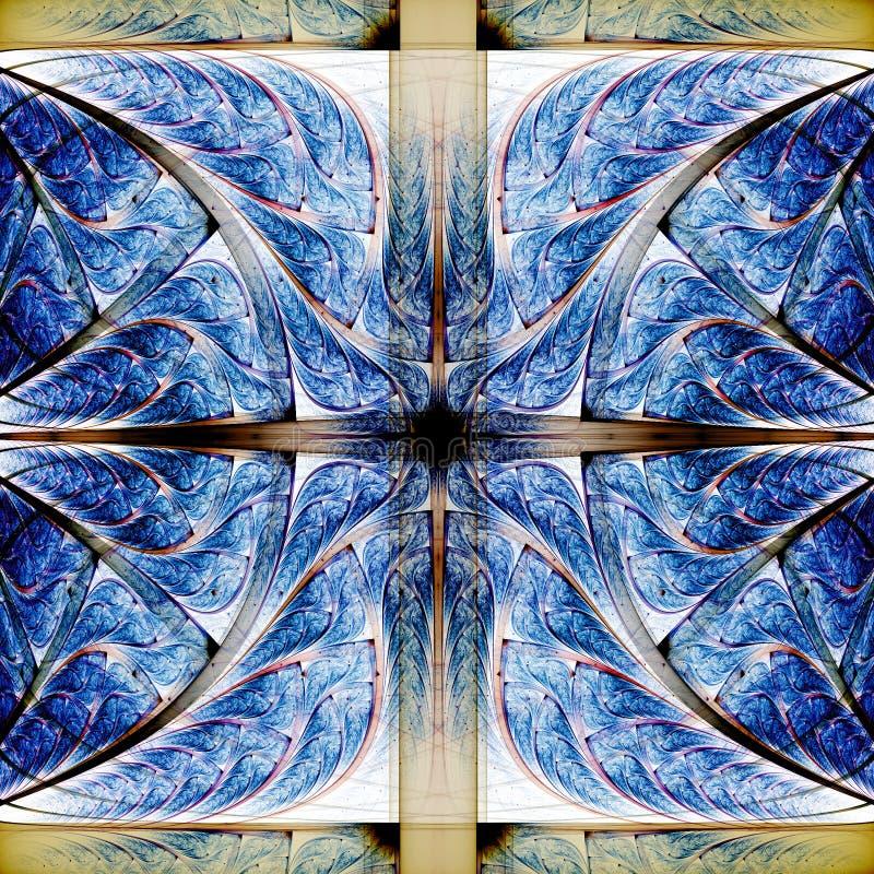 Abstract blauw fractal kruis stock illustratie