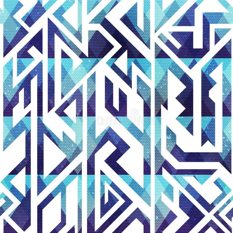 Abstract blauw geometrisch naadloos patroon met grungeeffect stock illustratie