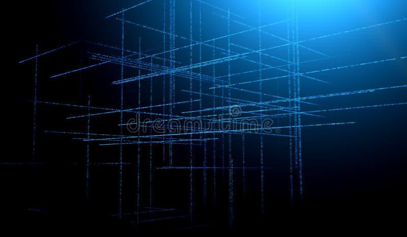 Abstract blauw gestemd element als achtergrond op zwarte Samenstelling van netten en matrijspatronen Gedetailleerde fractal grafi royalty-vrije illustratie