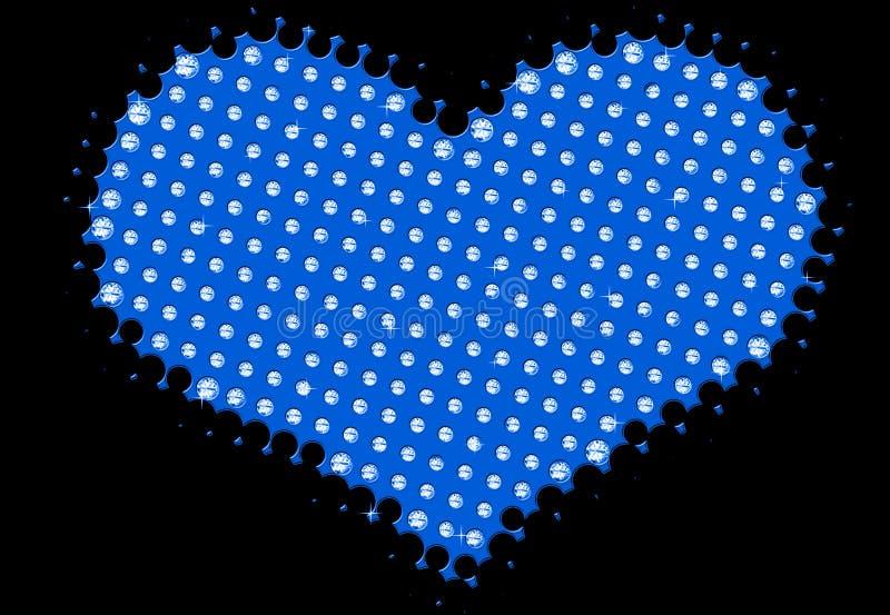 Abstract blauw hart met diamanten royalty-vrije illustratie