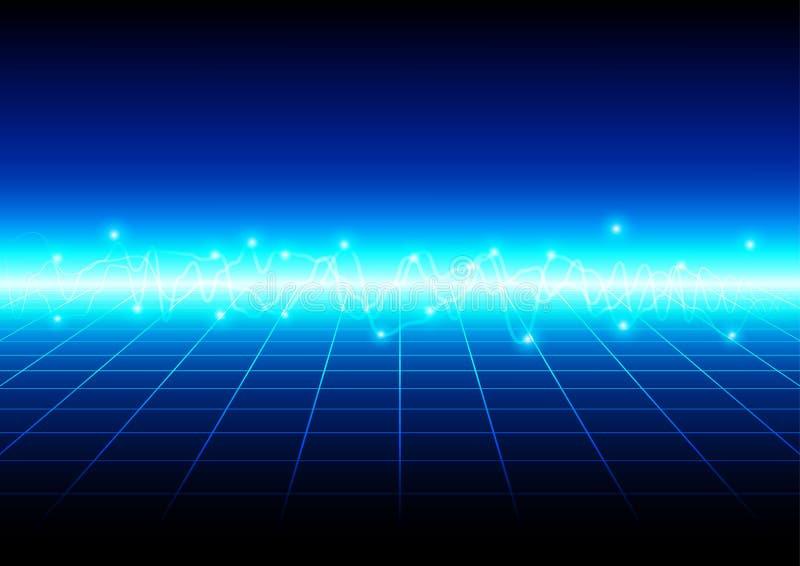 Abstract blauw licht met de achtergrond van de nettechnologie illu stock illustratie
