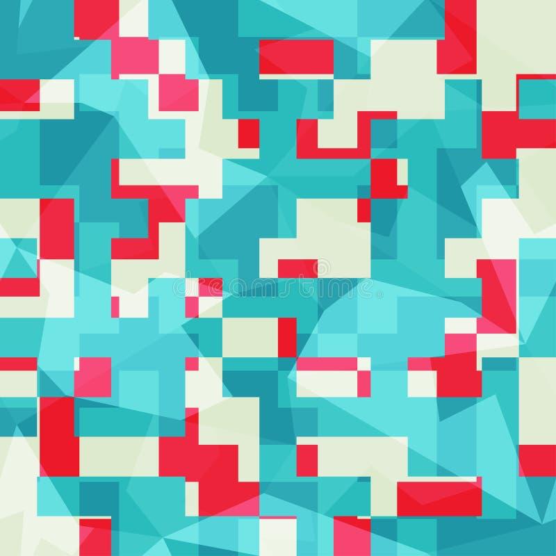 Abstract blauw vierkanten naadloos patroon royalty-vrije illustratie