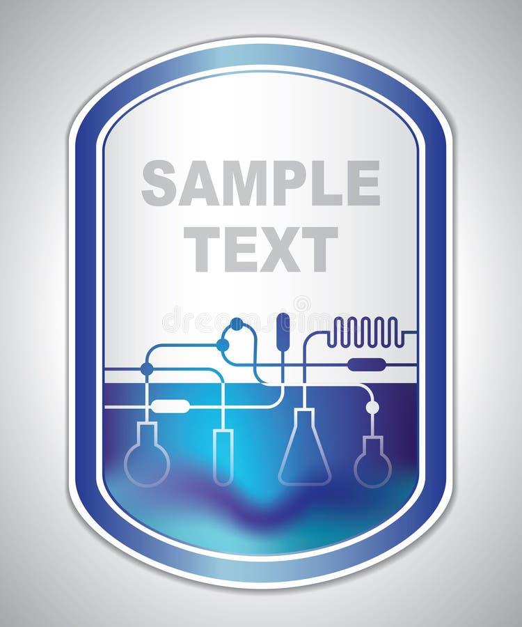 Abstract blauwachtig laboratoriumetiket vector illustratie