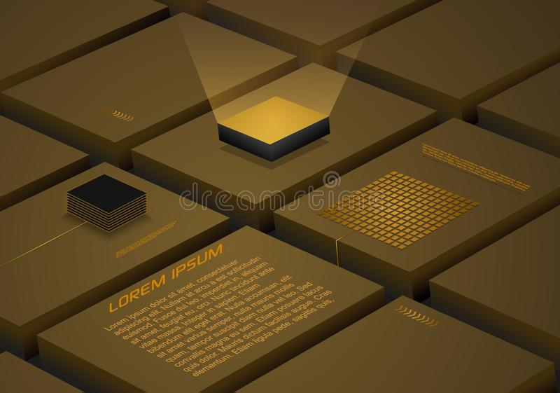 Abstract block background with artificial intelligence, robotic quantum computing processor in gold color. Used for business stock illustration